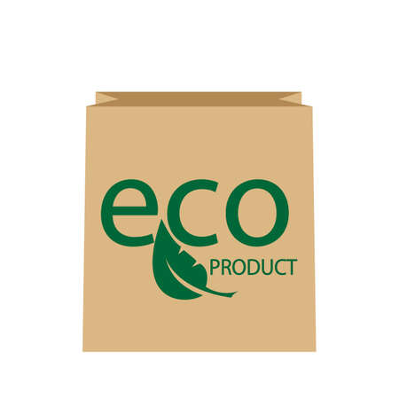 Blank Paper Bag Eco Sale Isolated on White Background. Paper Bag with leaf. Ecological clean product. Vector illustration Illustration