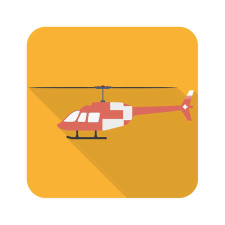 Ambulance helicopter icon in flat style with long shadows. Vector simple illustration.