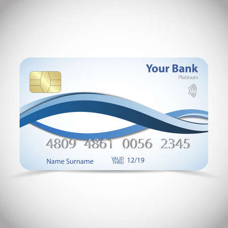 Realistic detailed platinum credit card with dynamic blue soft wavy design, isolated on white background. Vector