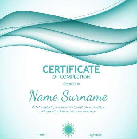 Certificate of completion template with dynamic azure soft wavy background. Curved lines in elegant smooth style. Vector illustration. Abstract background with azure horizontal wave