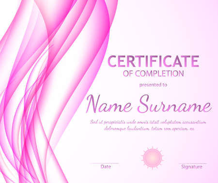 Certificate of completion template with dynamic pink soft wavy background. Curved lines in elegant smooth style. Vector illustration. Abstract background with pink horizontal wave