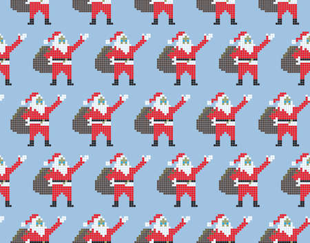 Christmas template seamless Santa Claus. Santa Claus in pixel style on a blue background Illustration