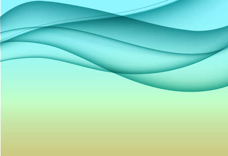 Abstract background with azure horizontal wave in a dynamic elegant style. Vector illustration for your web design or website. Ilustração
