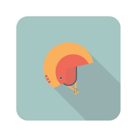 Helmet icon in flat style with long shadow. Minimal design. Vector illustration for web