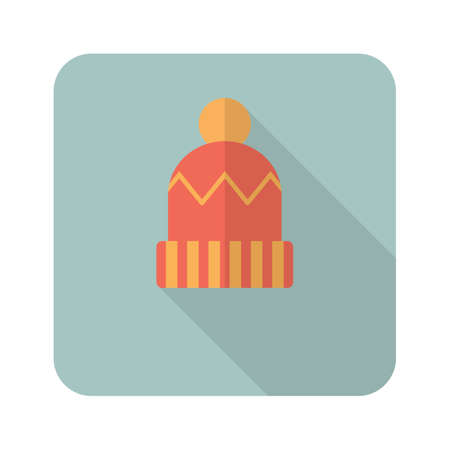 Winter hat icon in flat style with long shadow. Flat design for web and mobile. Vector Illustration
