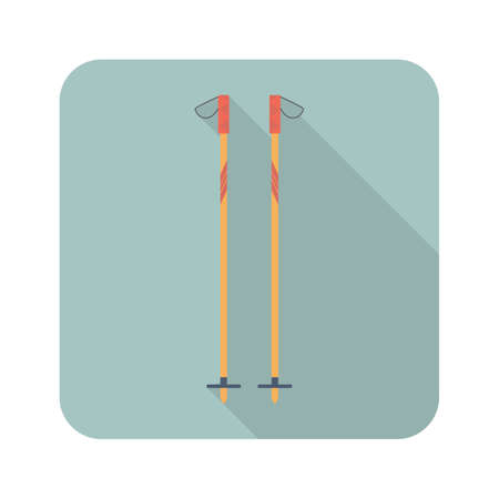 Ski sticks flat icon with long shadow. Sport symbol vector illustration for web and mobile applications