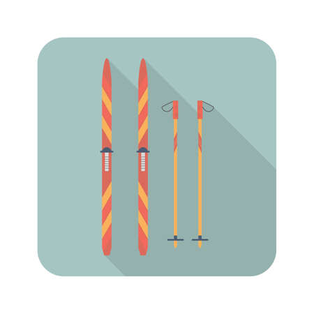 Ski and sticks flat icon with long shadow. Sport symbol vector illustration for web and mobile applications Ilustração