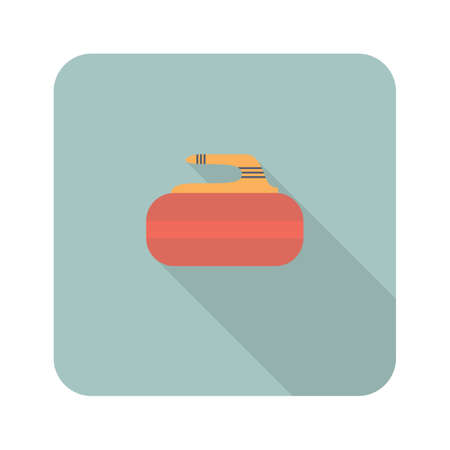 Curling stone flat square icon with long shadows. Vector illustration Иллюстрация