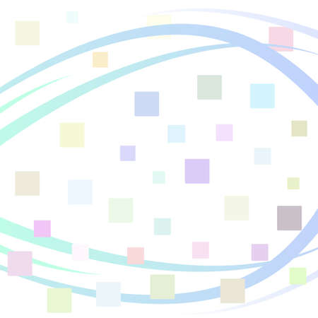 Background with color square mosaic surface and blue wavy dynamic line. Vector illustration 向量圖像