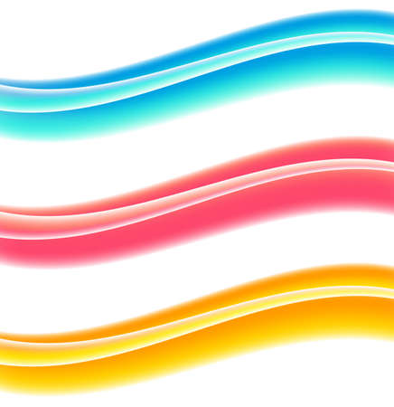 Abstract motion smooth color wave vector. Set of Curve colorful lines. Smooth dynamic soft style on light background. Vector illustration