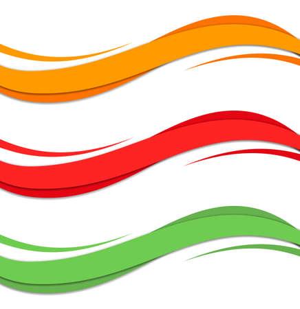 Elemento di disegno astratto dell'onda di colore. Stile morbido dinamico liscio su sfondo chiaro. Illustrazione vettoriale