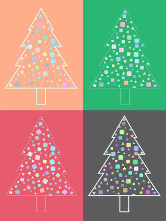 Set of modern christmas trees. Christmas trees for holiday design. Vector illustration