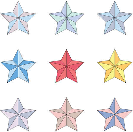 Set of multi-colored stars on a white background. Vector illustration
