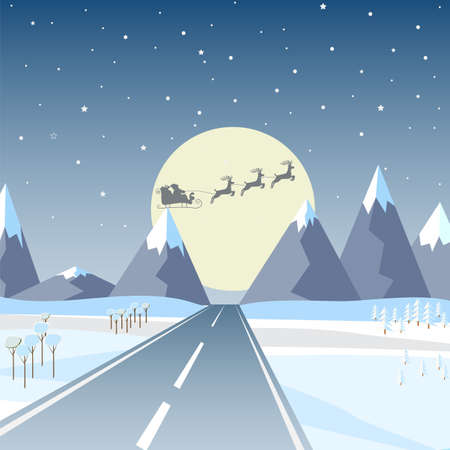 Vector illustration in a flat design: Winter mountains landscape with a road, pine, and a clear starry sky with stars and a full moon. Santa Klaus with deer in the background of the full moon
