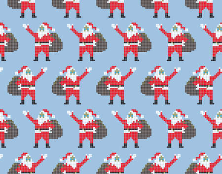 Christmas template seamless Santa Claus. Santa Claus in pixel style on a blue background. Vector Stock Illustratie