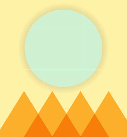 Abstraction of modern style with a composition of different rounded and triangular shapes in color on an orange background. Vector illustration.