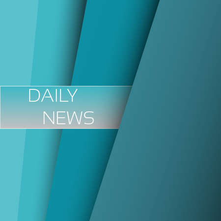 Abstract background with blue paper layers. Daily news banner on blue paper layers background 向量圖像