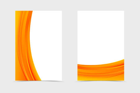 Front and back wavy flyer template design. Abstract template with orange lines in dynamic bright style. Vector Ilustração