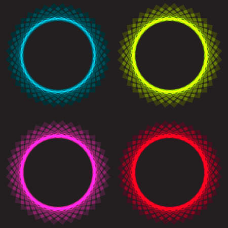 Neon light circles set. Shining round techno frames collection. Blue and red, pink neon abstract background with glow. Vector illustration.