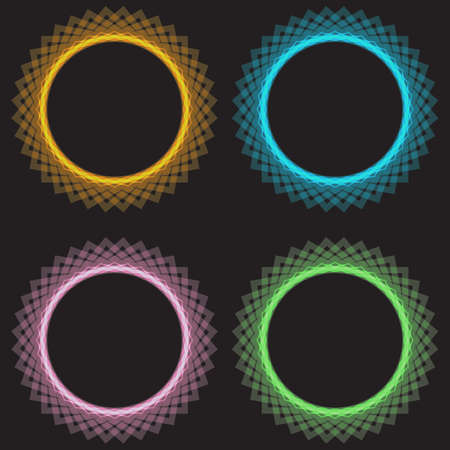Neon light circles set. Shining round techno frames collection. Blue and green, yellow neon abstract background with glow. Vector illustration.