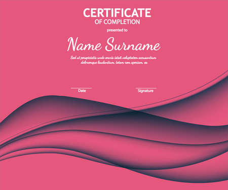 Certificate of completion template with dynamic pink soft wavy background. Curved lines in elegant smooth style. Vector illustration. Abstract background with horizontal wave