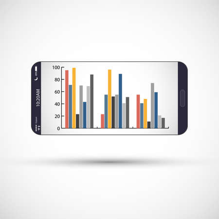 Mobile phone screen with infographic. Smartphone with color infographic background. Imagens - 125462323
