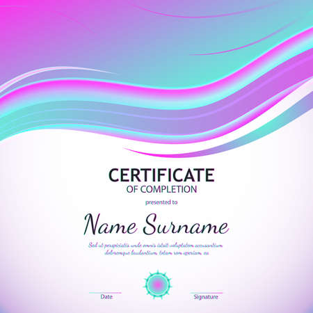 Certificate of completion template with azure and purple soft wavy light background. Vector illustration