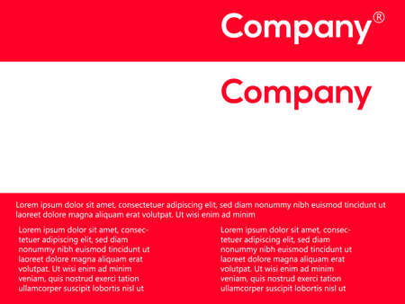 Red and white over design. Cover for the companys requisites. Vector illustration, brochure