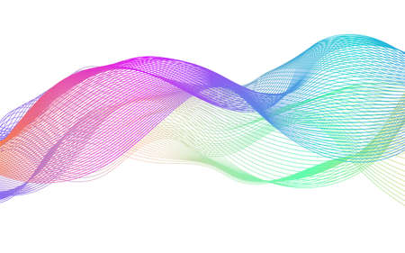 Wave of the many colored lines. Abstract wavy stripes on a white background isolated. Creative line art. . Design elements created using the Blend Tool. Curved smooth tape Ilustracja