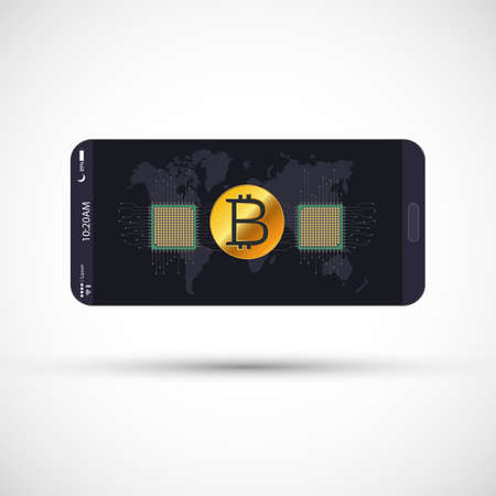 Smartphone with golden bitcoin, microchip and world map. Bitcoin Icon on Screen Mobile. Vector Illustration 写真素材 - 125462345