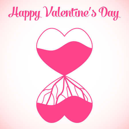 vector background of Valentines Day, with two paper hearts. Vector illustration