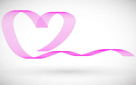 Sample with a pink heart for your text, information, publication. Greeting card with Valentines day. Vector illustration