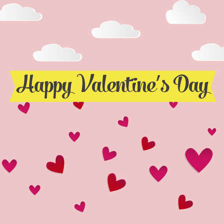 Vector illustration on a pink background, romantic scene concept Valentines Day, style paper with shadow, clouds and sky background. Greeting card with Valentines day