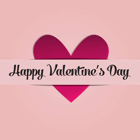 Greeting card with image of heart. Congratulations on February 14 day St. Valentine. Picture with declaration of love. Happy Valentines day. Vector illustration
