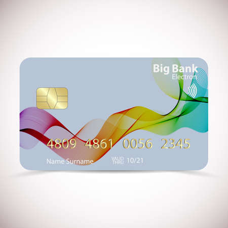Realistic detailed gold credit card with color wavy curved lines in dynamic smooth style, isolated on white background. Vector