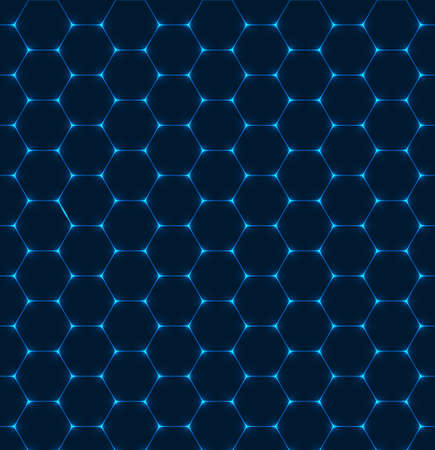 Background with blue hexagon texture with glow effect. Vector illustration
