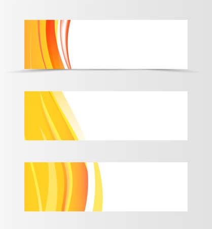 Set of header banner wave design with orange lines in material design style. Vector illustration.