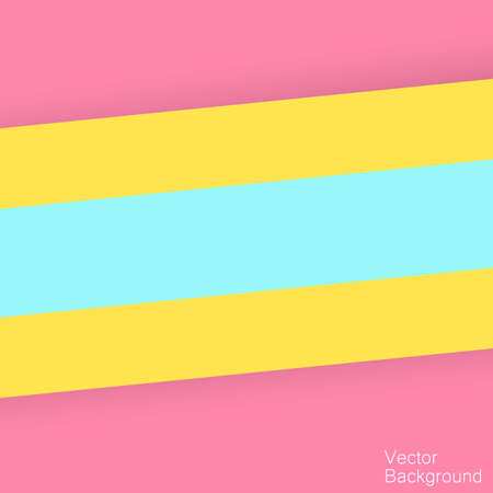 Abstract background with bright pink, yellow and blue layers of paper. Pop of color overlap layer paper material design, vector background