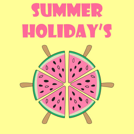 Summer poster. Vector background with slices of watermelon ice cream on pastel yellow background. Summer holidays handwritten text.