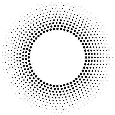 Abstract monochrome dotted vector background. Halftone effect. Black dotted background