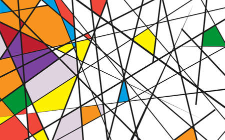 Random chaotic lines abstract geometric pattern texture. Modern, contemporary art-like illustration. Vector illustration Abstract vector colorful background with random multicolored shapes. Фото со стока - 125462374