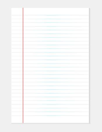 Fondo de hoja de papel de línea blanca. Hojas en blanco de papel rayado