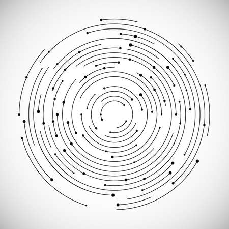 Circolazione concentrica, linea circolare e punto. Linea astratta di vortice e fondo del punto. Illustrazione vettoriale per progettare il tuo sito Web e stampare. Elemento di design del logo. Logo