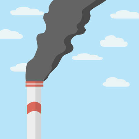 Factory pipe against the clear sky clogs the air with black smoke. Pollution of environment from industry smoke co2 emitting. Smoke from the pipes.  イラスト・ベクター素材