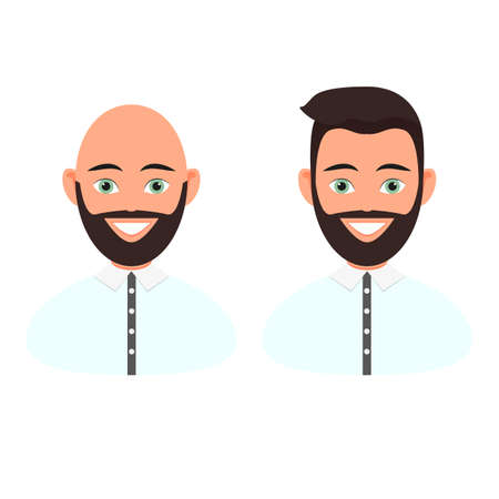 Frontal portraits of two men with a beard and hair and a beard without hair on the head. The upper part of the body is dressed in a shirt. Vector illustration isolated on white background Иллюстрация