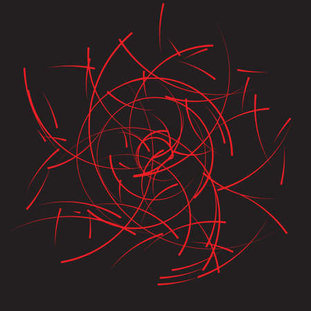 Curves of red lines chaotically isolated on black background. Modern art and design. Random curvy red lines. Vector illustration Stock Illustratie