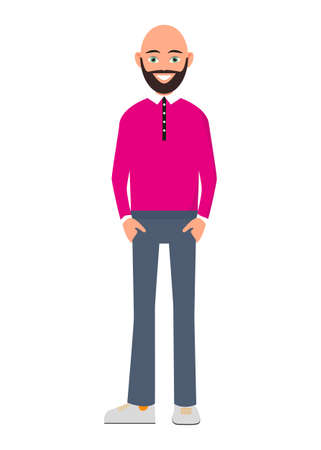 Happy bald and bearded man isolated on white background vector illustration. People personage in flat design. A bald man with a beard in a pink shirt and trousers Stock Illustratie