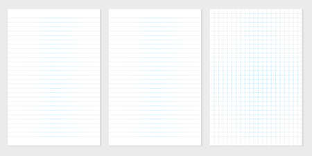Set of realistic vector illustration of blank sheets of square and lined paper from a block isolated on a gray background. Vector illustration