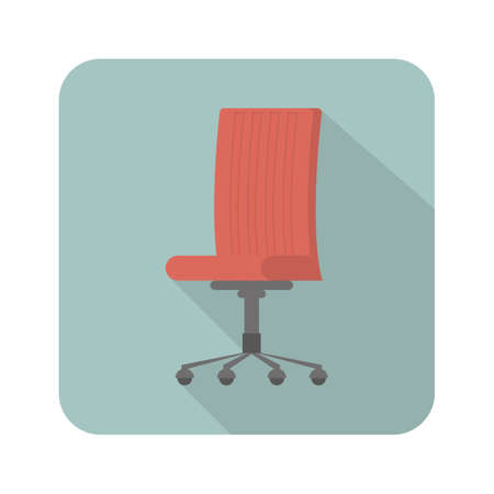 Red office chair flat style icon isolated on blue background with long shadow. Furniture icon. Vector illustration. Flat style design