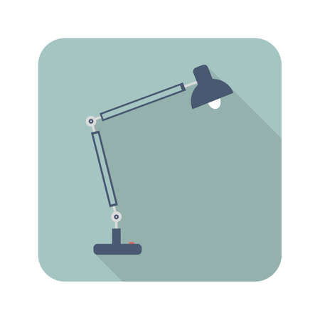 Table lamp flat style icon on blue background with long shadow. Vector illustration.